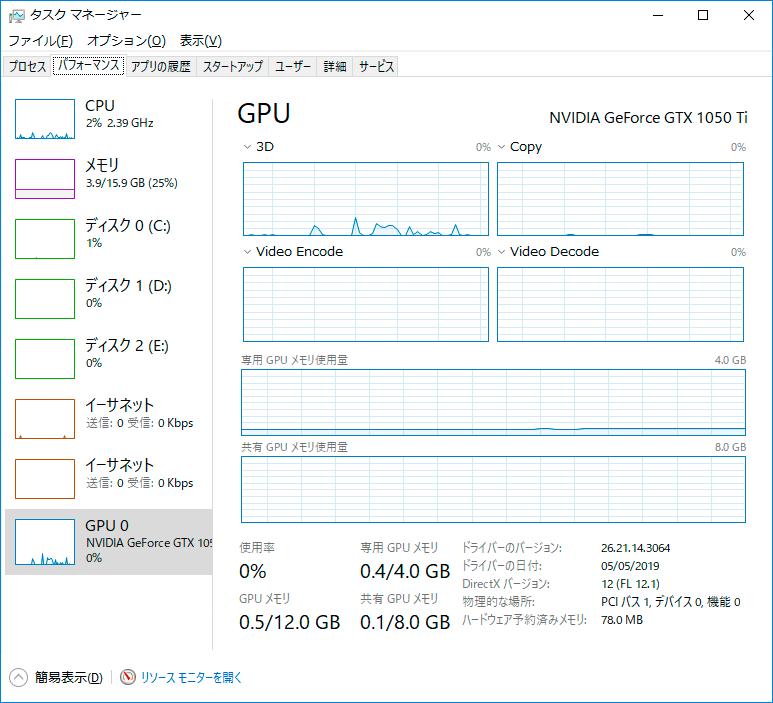 Windows10で現在GPUで使用中のVRAM容量を確認する方法